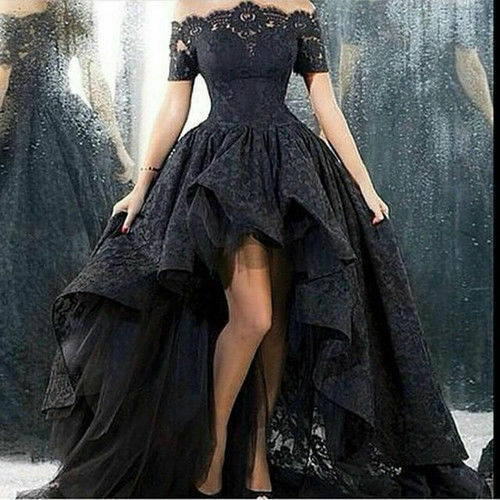 High Low Black Lace Evening Dress Long Sleeves Party Prom Gown .