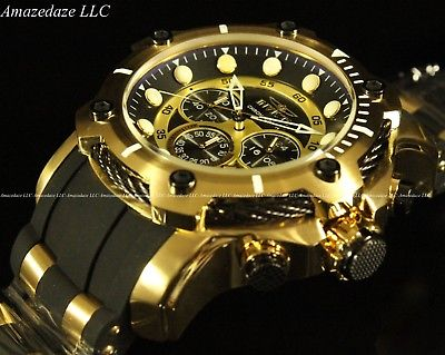 Invicta Men's 50mm Bolt Chronograph Black Dial Gold Plated .