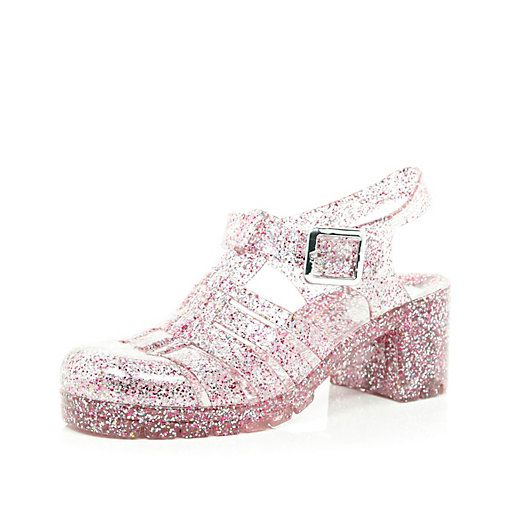 Pink glitter block heel jelly shoes - flat sandals - shoes / boots .