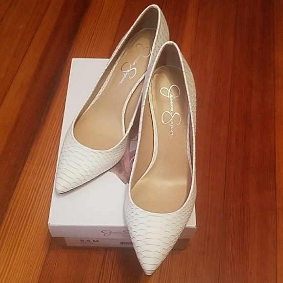 Jessica Simpson Shoes | White Levin Heels | Poshma