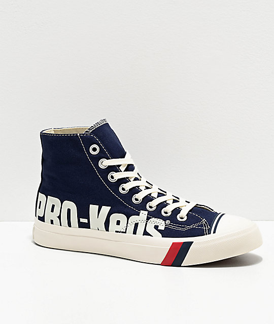 Pro-Keds Royal Hi Logo Navy & White Shoes   Zumi