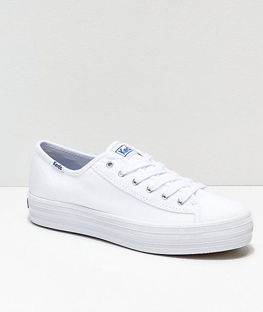 Keds Triple Kick White Canvas Shoes   Zumi
