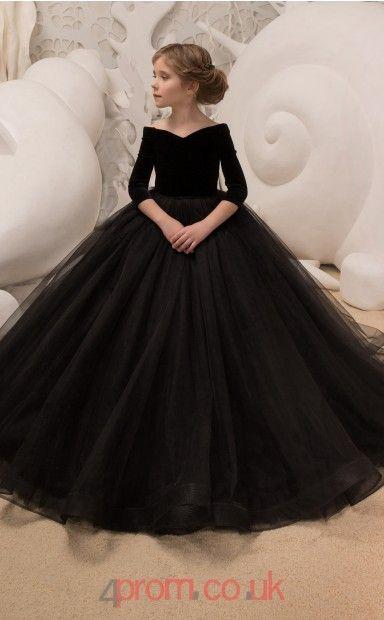 Scalloped 3/4 Length Sleeve Black Kids Prom Dresses CHK037 | Kids .