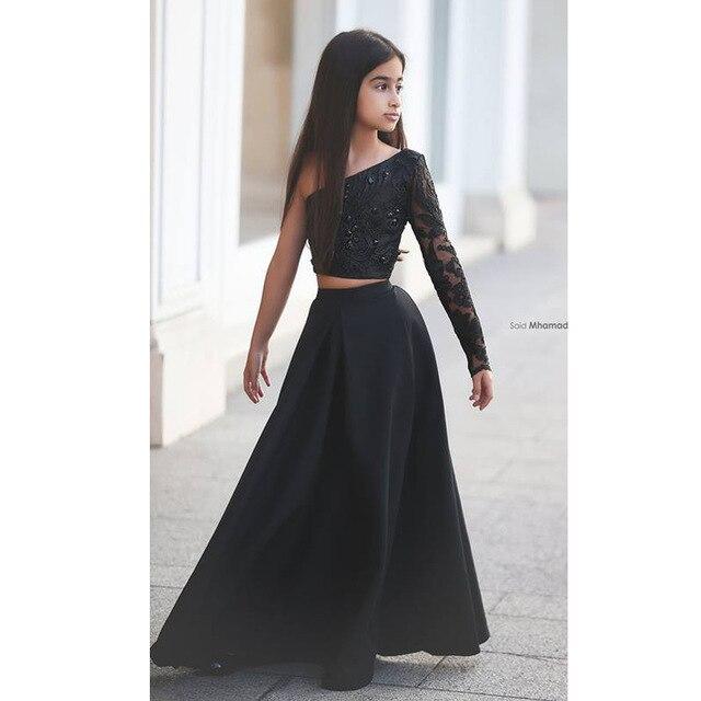 Said Mhamad Black One Shoulder Long Sleeve Kids Prom Dresses A .