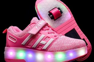 Kids Double Wheels Shoes with Lights Roller Skates Shoes .