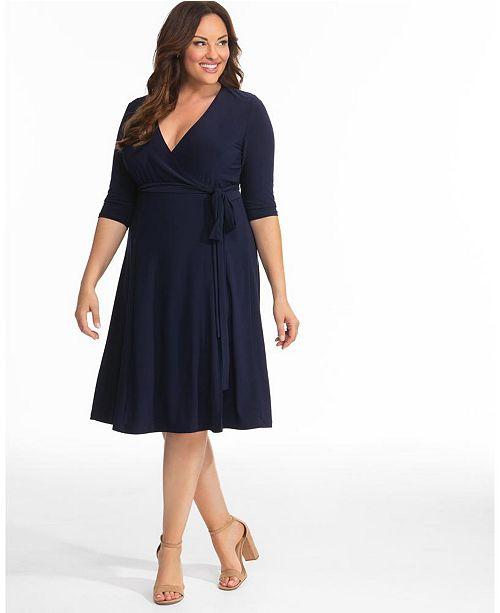 Kiyonna Womens Plus Size Essential Wrap Dress & Reviews - Dresses .