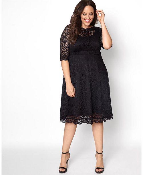 Kiyonna Women's Plus Size Lacey Cocktail Dress & Reviews - Dresses .