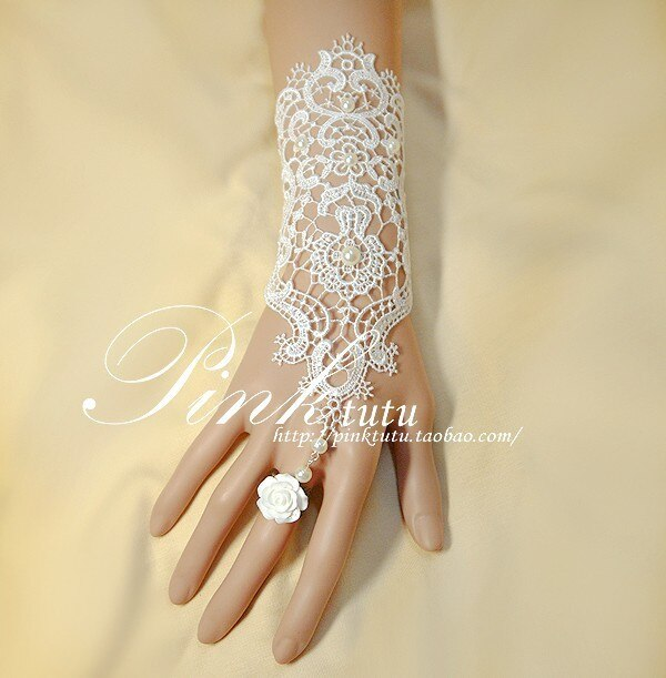 Vintage white rose pearl lace bracelet with ring wristband .
