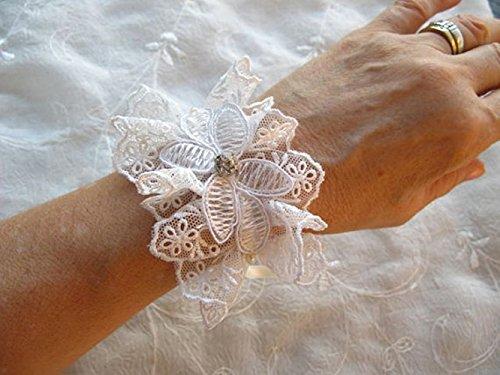 Amazon.com: OOAK-Ivory Bridal Cuff Bracelet Lace cuff Lace .