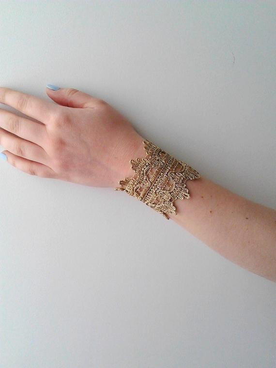 Cuff Bracelet gold lace bracelet wrist cuff bracelet statement   Et