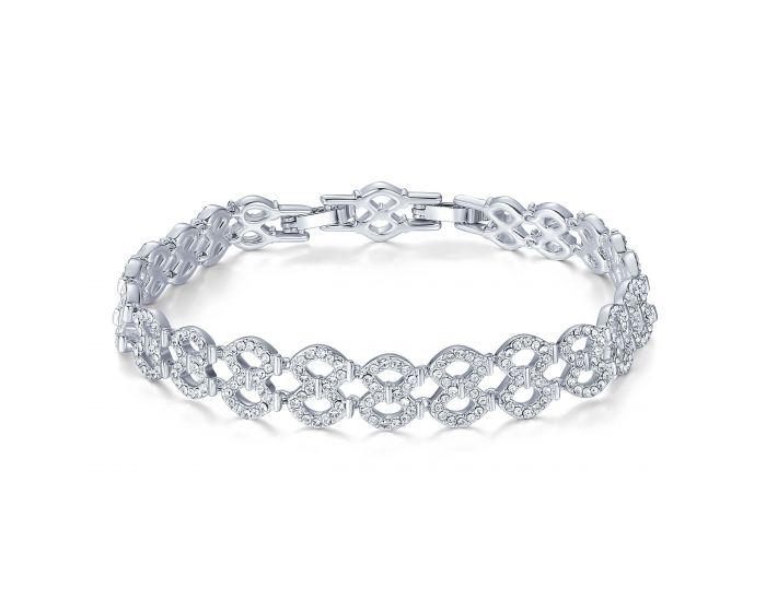 Lace Bracelet w Swarovski Crystals Rhodium Plat