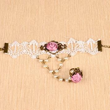 Amazon.com : Women Jewelry White Lace Bracelet Chain Pink Rose .
