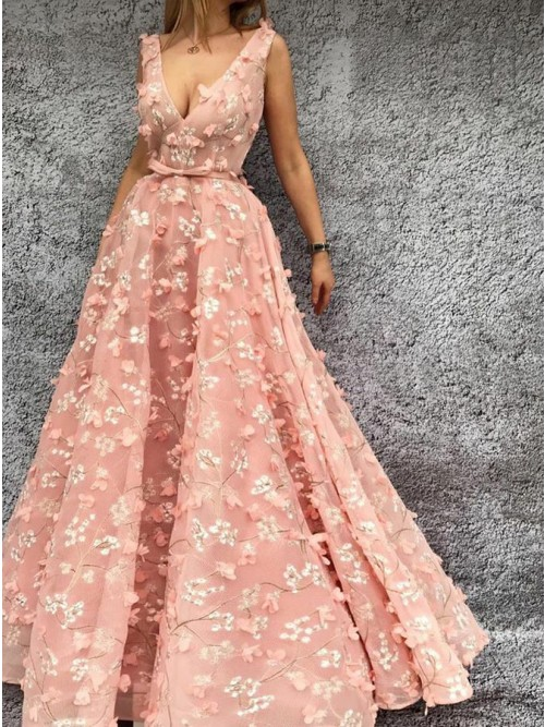 A-Line V-Neck Floor-Length Floral Pink Lace Prom Dress with Sash .