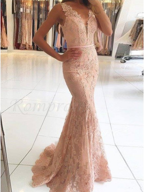 Mermaid Deep V-Neck Pink Lace Prom Dress with Beading Appliques .