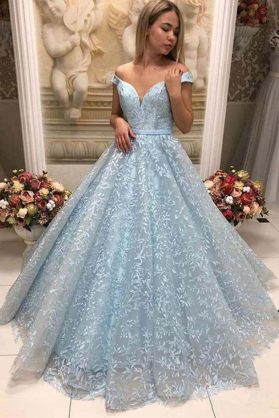 New Arrival Light Blue Lace Puffy Off Shoulder Prom Dresses Formal .