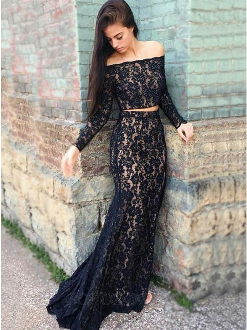 Two Piece Off-the-Shoulder Long Sleeves Black Lace Prom Dress .