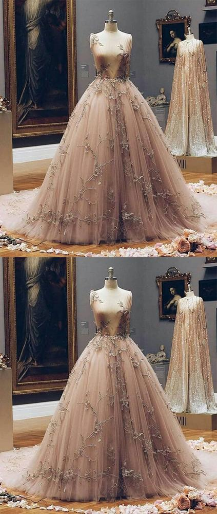 Champagne v neck tulle lace prom dress, champagne tulle evening .