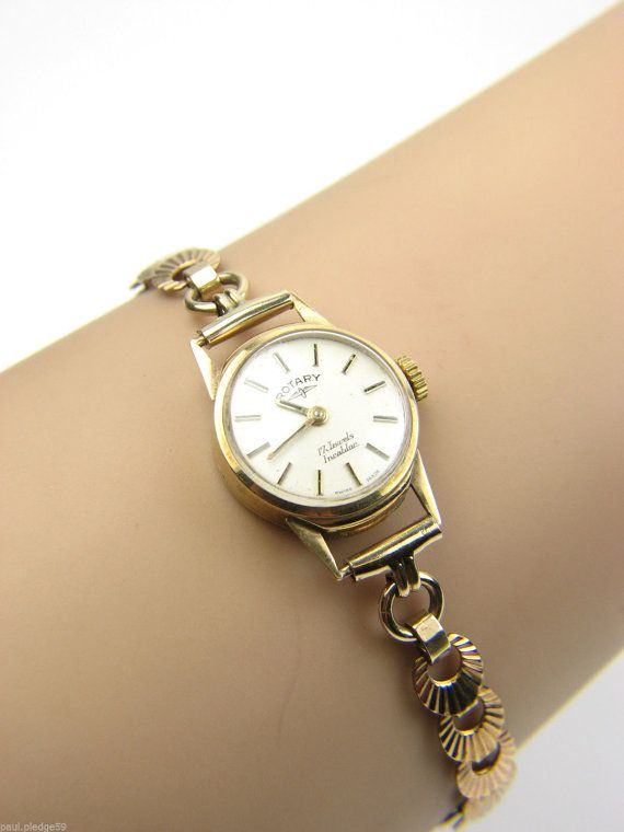 Ladies 9ct gold Rotary watch set with Rolled by PledgeJewellers .