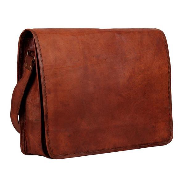 "Distressed Leather Messenger Bag 13""   High On Leath"
