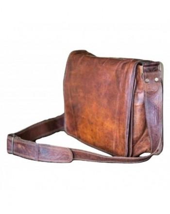 13 inch Mens Genuine Vintage Leather Canvas Full Flap Messenger .
