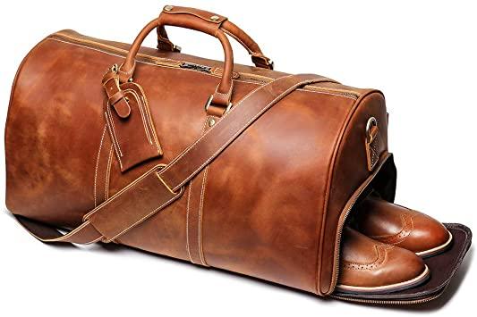 Amazon.com | Leathfocus Leather Travel Duffel Bag, Mens Classic .