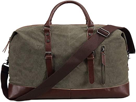 Amazon.com | Ulgoo Travel Duffel Bag Canvas Bag PU Leather Weekend .