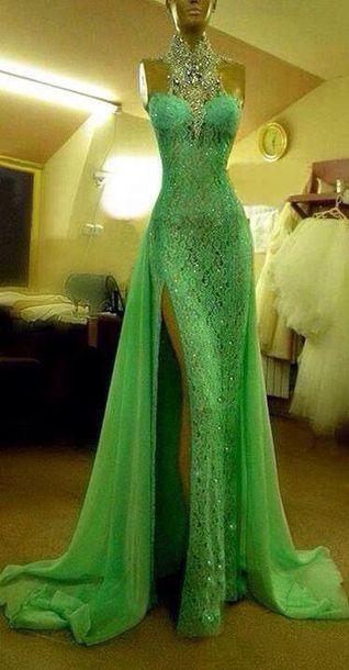 lime green dress, sparkly dress, prom dress, long prom dress .