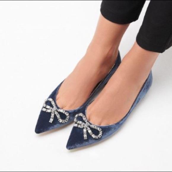 LK Bennett Shoes   Elin Blue Velvet Flats Nwt   Poshma