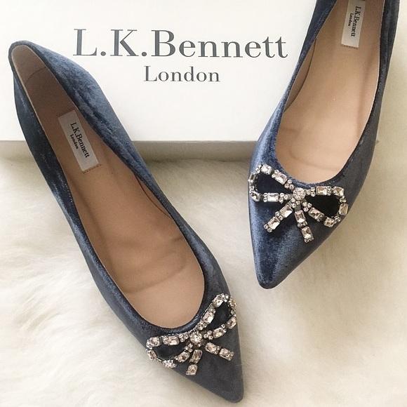 LK Bennett Shoes   Elin Powder Blue Velvet Flats   Poshma