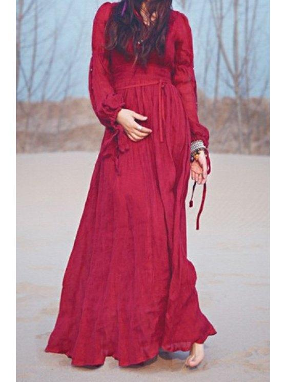 27% OFF] 2020 Wine Red Plunging Neck Long Sleeve Maxi Dress In .