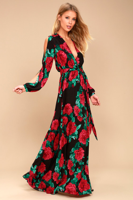 Lovely Black Floral Print Maxi - Long Sleeve Maxi Dre