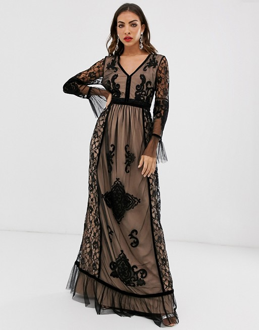 Frock & Frill lace detail long sleeve maxi dress | AS