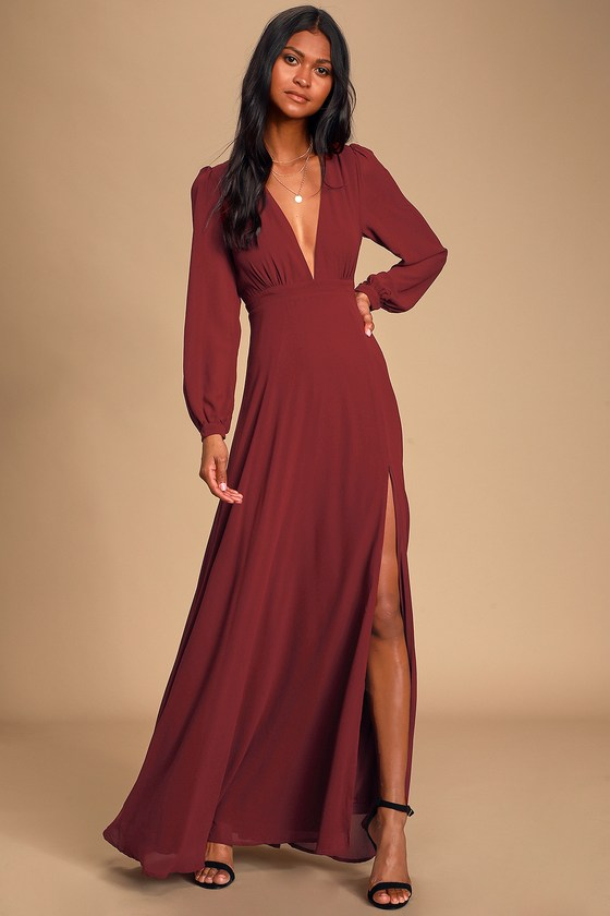 Lovely Burgundy Gown - Long Sleeve Maxi Dress - Maxi Dre