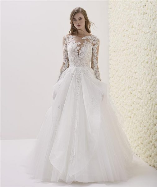 Long Sleeve Illusion Sweetheart Neck Lace Bodice Ball Gown Wedding .