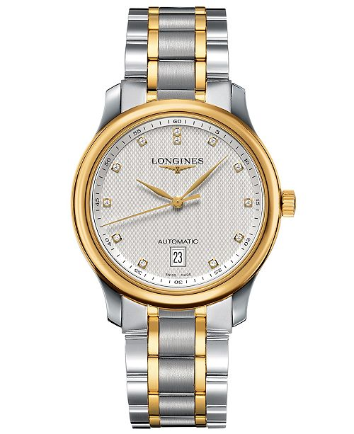 Longines Men's Swiss Automatic Master Diamond Accent 18k Gold and .