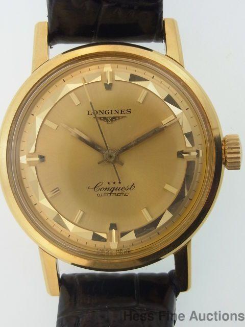Spectacular Longines Enamel 18k Gold Conquest Automatic 1950s Mens .