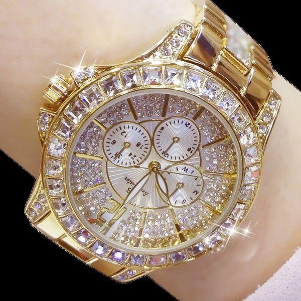 Ladies Diamond Watch Gold Plated Women Luxury Fashion Quartz .