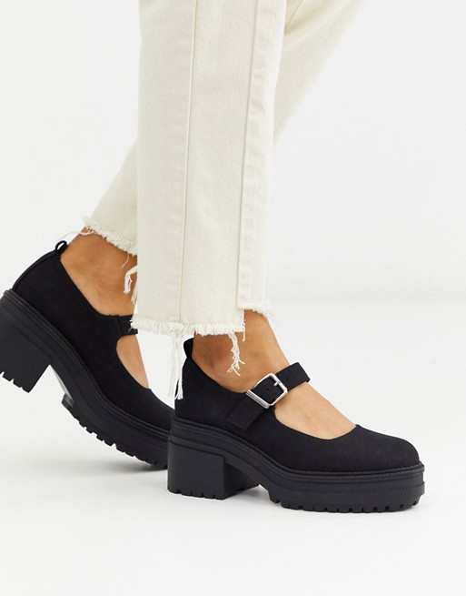 ASOS DESIGN Shaky chunky mary-jane heels in black | AS