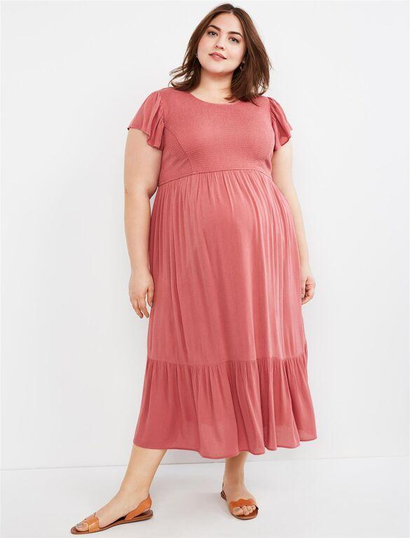 Plus Size Flutter Sleeve Smocked Maxi Maternity Dress | Motherhood .
