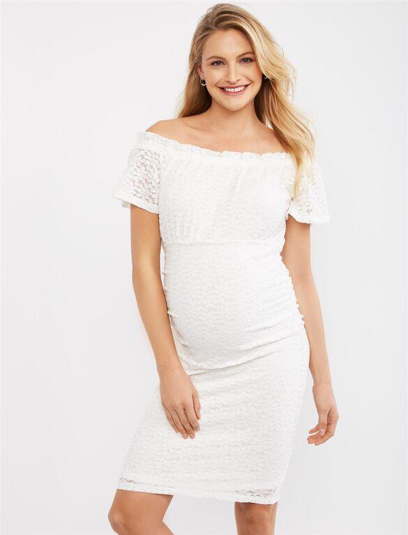 Patterned Lace Ruched Maternity Dress | Motherhood Materni