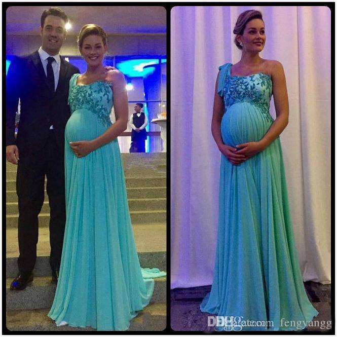 2019 Elegant Maternity Evening Dresses One Shoulder Lace Applique .