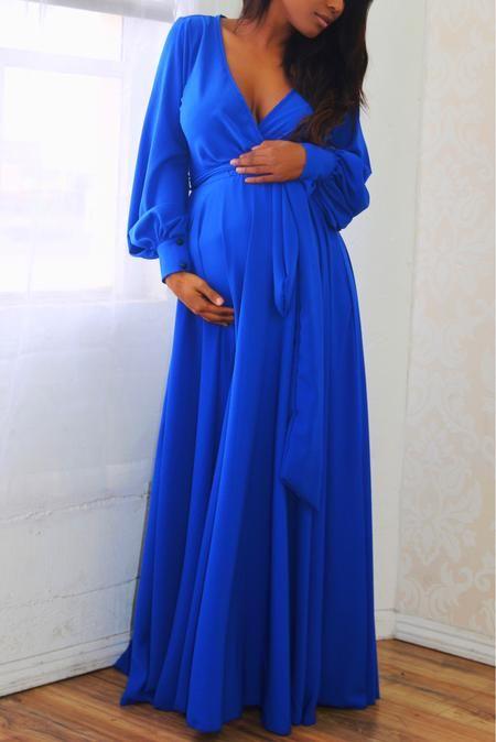 Royal Satin Gown | Blue maternity dress, Pregnant party dress .