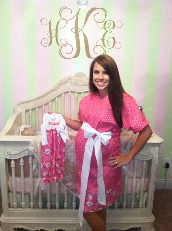 Matching Mother and Baby Maternity Hospital Gowns-Monogrammed with .