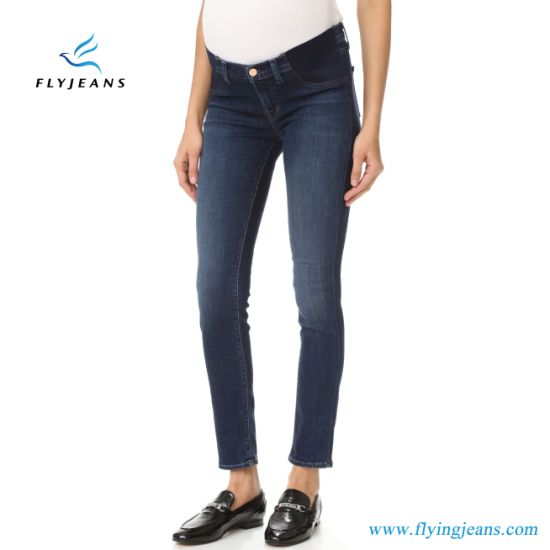 China Customized Strecth Denim Maternity Jeans Leggings for Women .