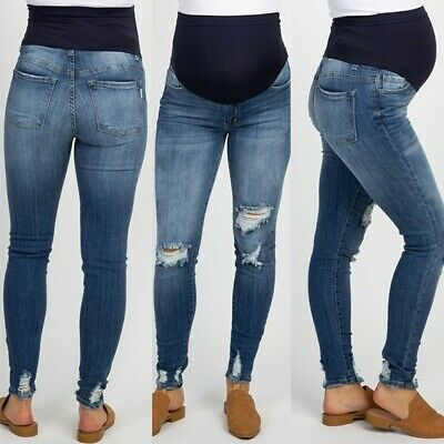 Women' Summer Pregnant Jeans Maternity Pants Denim Trousers Prop .