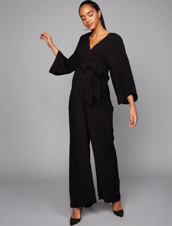 Wide Sleeve Challis Maxi Maternity Jumpsuit | Motherhood Materni