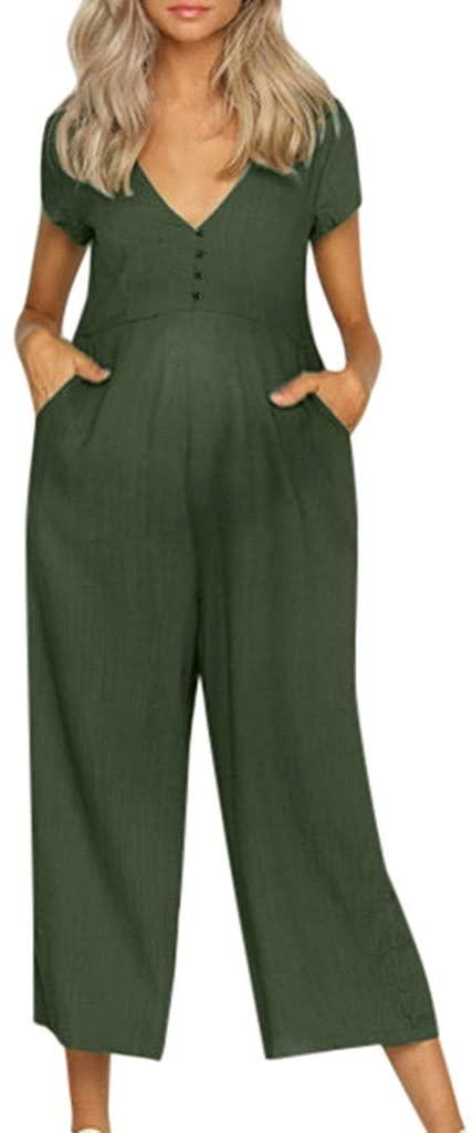 Amazon.com: Iusun Women's Maternity Jumpsuit V-Neck Sleeveless .