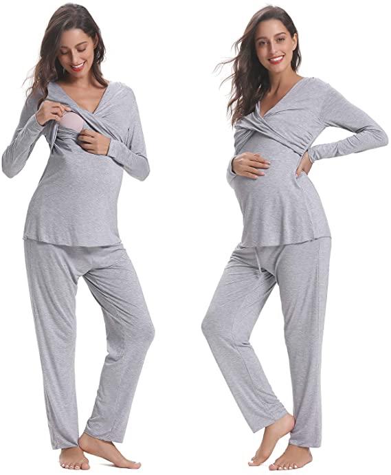 Hawiton Women's Maternity Pyjamas Set Short Sleeve Breastfeeding .