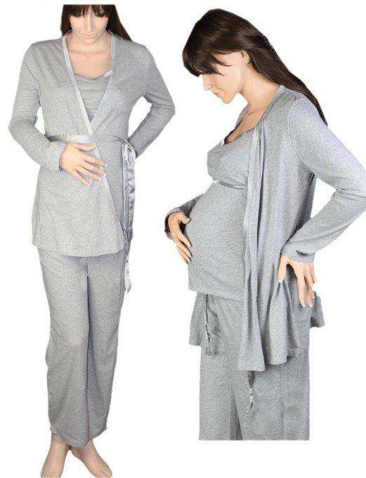 Maternity Pyjamas Set Easy Feed with Dressing Gown: Amazon.co.uk .