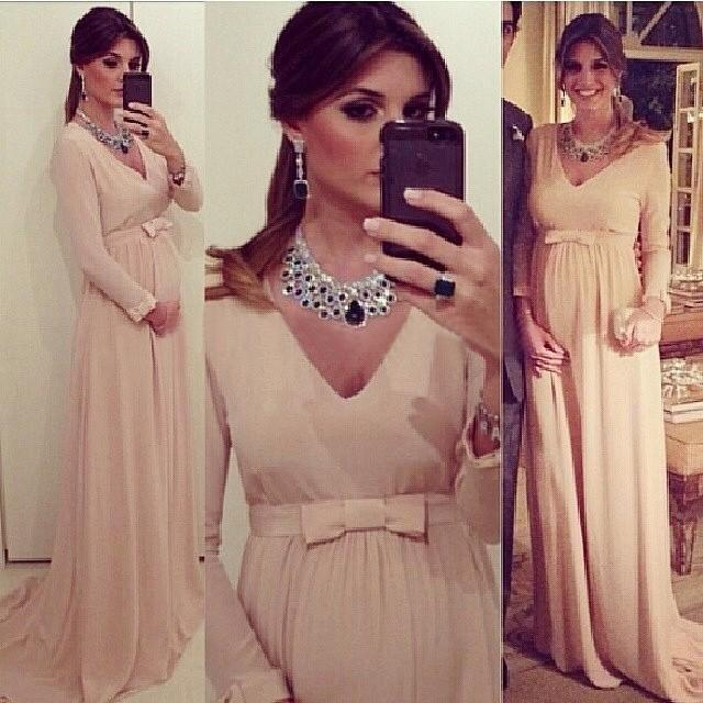 2019 Blush Chiffon A Line Evening Dresses With Long Sleeves New .